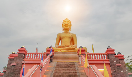Golden Buddha, which is revered by Buddhists. Stock Photo