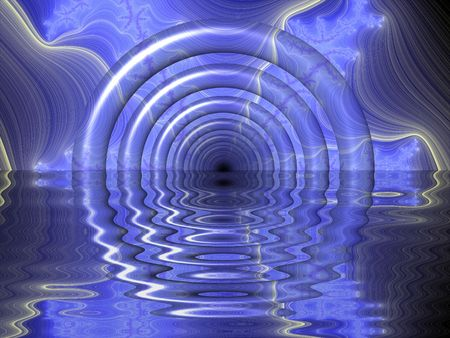 Blue Reflecting Tunnel - abstract background texture