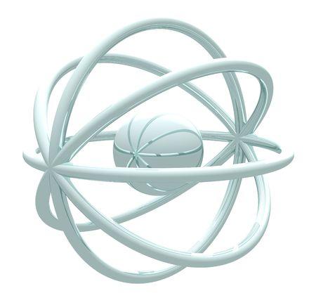 Atom shapes on white background