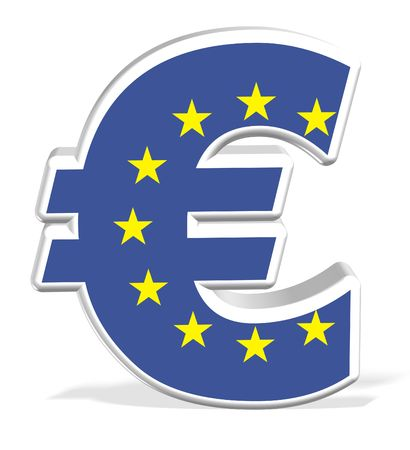 3D Euro Dollar with flag on white isolated background