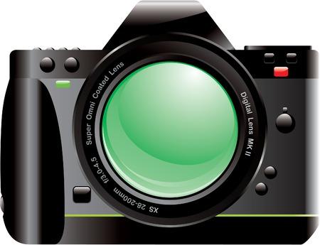 Digital Camera SLR with Lens Illustration