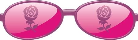 Rose colored glasses Illustration
