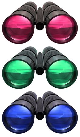 Three colored Binoculars on white background photo