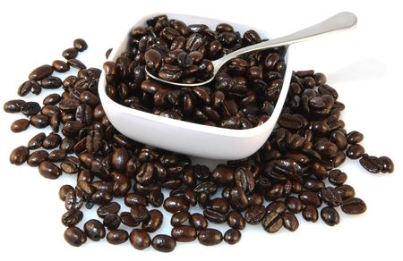 French roast coffee beans in bowl photo