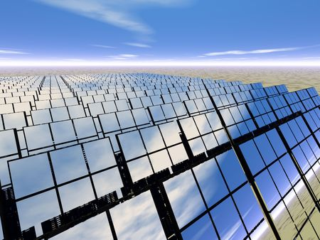 3D rendered solar panel farm in the desert