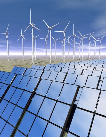 3D rendered solar panels and wind turbines in a desrt environment