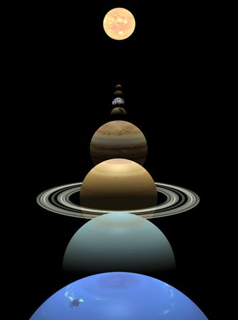 All 8 planets shown in alignment on a black background