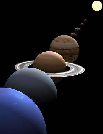 The eight planets in the solar system in alignment around the sun on black background Stock Photo