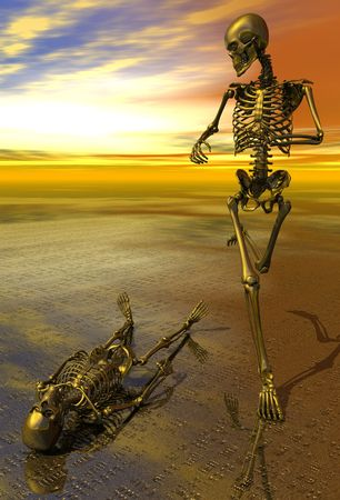 prone: 3D rendered surreal skeleton jogging past prone skeleton with sunset.  Symbolizes perserverance, strength, power, health and endurance.