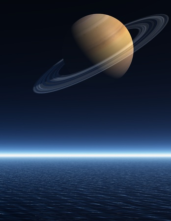 The planet Saturn rising over a night time sea - a 3D rendered scene Stock Photo