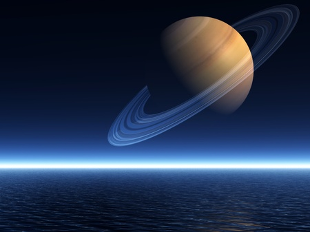 The planet Saturn rising over a night-time sea - a 3D rendered scene