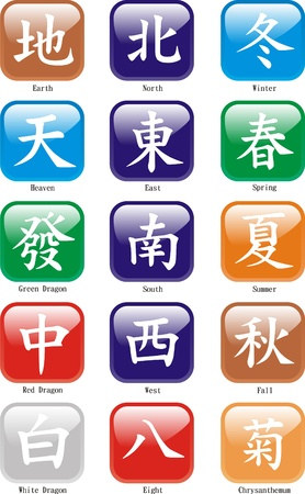 mahjong: Mah Jongg Chinese Characters with winds, dragons, seasons etc - Vector