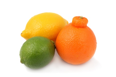 Grouping of lime, tangelo and lemon on a white background