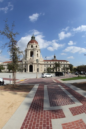 gcc: Fisheye photograph of the City Hall in Pasadena, California, one of the Green Cities California  GCC