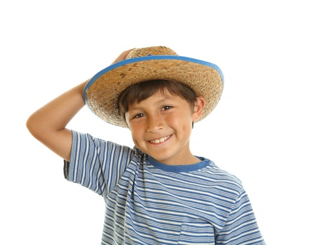 Happy cheerful smiling young boy in toy cowboy hat - on white background Stock Photo - 13772627