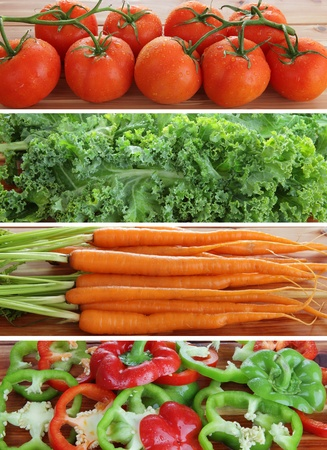 High resolution strips of organic fresh tomatoes, kale, carrots and red and green peppers Stock Photo
