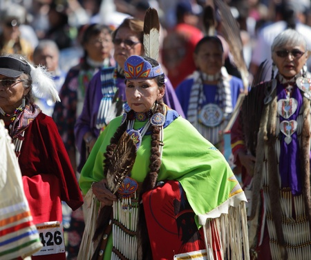 SAN BERNARDINO, CALIFORNIA, USA, OCTOBER 13, 2012.  The San Manuel Band of Indians hold their annual Pow Wow in San Bernardino on October 13, 2012. Dances include the Grass, Chicken and Fancy dances.  Stock Photo - 15849629