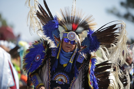 SAN BERNARDINO, CALIFORNIA, USA, OCTOBER 13, 2012.  The San Manuel Band of Indians hold their annual Pow Wow in San Bernardino on October 13, 2012. Dances include the Grass, Chicken and Fancy dances.  Stock Photo - 15849721