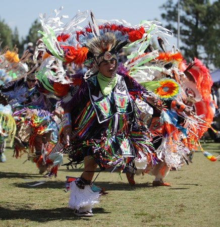 SAN BERNARDINO, CALIFORNIA, USA, OCTOBER 13, 2012.  The San Manuel Band of Indians hold their annual Pow Wow in San Bernardino on October 13, 2012. Dances include the Grass, Chicken and Fancy dances.  Stock Photo - 15849632