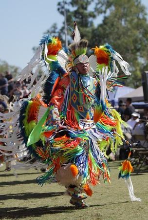 SAN BERNARDINO, CALIFORNIA, USA, OCTOBER 13, 2012.  The San Manuel Band of Indians hold their annual Pow Wow in San Bernardino on October 13, 2012. Dances include the Grass, Chicken and Fancy dances.  Stock Photo - 15849620