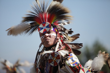 SAN BERNARDINO, CALIFORNIA, USA, OCTOBER 13, 2012.  The San Manuel Band of Indians hold their annual Pow Wow in San Bernardino on October 13, 2012. Dances include the Grass, Chicken and Fancy dances.  Stock Photo - 15849633