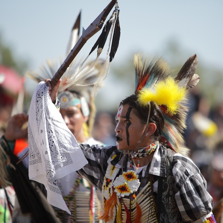 include: SAN BERNARDINO, CALIFORNIA, USA, OCTOBER 13, 2012.  The San Manuel Band of Indians hold their annual Pow Wow in San Bernardino on October 13, 2012. Dances include the Grass, Chicken and Fancy dances.