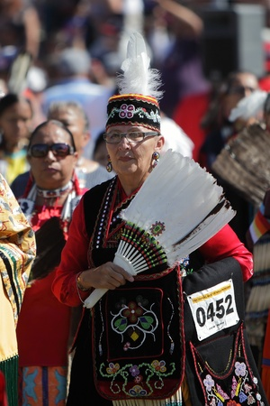 SAN BERNARDINO, CALIFORNIA - OCTOBER 13: The San Manuel Band of Indians hold their annual Pow Wow on October 13, 2012 in San Bernardino. Dances include the Grass, Chicken and Fancy dances. Stock Photo - 18480532