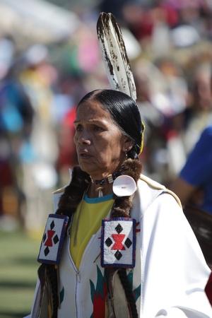 SAN BERNARDINO, CALIFORNIA - OCTOBER 13: The San Manuel Band of Indians hold their annual Pow Wow on October 13, 2012 in San Bernardino. Dances include the Grass, Chicken and Fancy dances. Stock Photo - 18480533