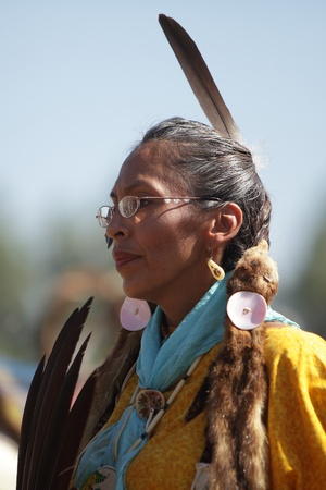native american girl: SAN BERNARDINO, CALIFORNIA - OCTOBER 13: The San Manuel Band of Indians hold their annual Pow Wow on October 13, 2012 in San Bernardino. Dances include the Grass, Chicken and Fancy dances.