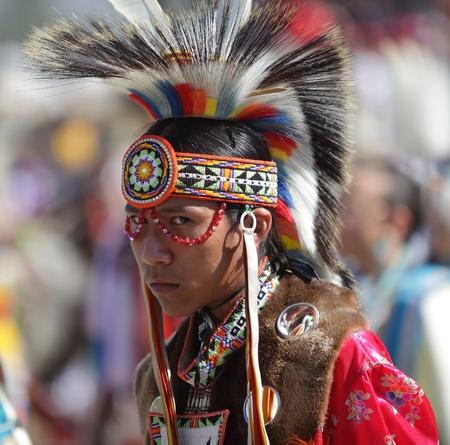 SAN BERNARDINO, CALIFORNIA - OCTOBER 13: The San Manuel Band of Indians hold their annual Pow Wow on October 13, 2012 in San Bernardino. Dances include the Grass, Chicken and Fancy dances.
