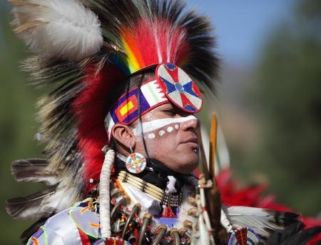 bernardino: SAN BERNARDINO, CALIFORNIA - OCTOBER 13: The San Manuel Band of Indians hold their annual Pow Wow on October 13, 2012 in San Bernardino. Dances include the Grass, Chicken and Fancy dances.