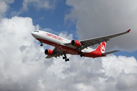 LOS ANGELES, CALIFORNIA, USA - MARCH 8, 2013 - Air Berlin Airbus A330-223 lands at Los Angeles Airport on March 8, 2013. The plane has a range of 5,900 km with 150 seats.  Editorial