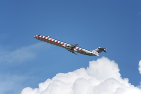 LOS ANGELES, CALIFORNIA, USA - MARCH 8, 2013. American Airlines McDonnell Douglas MD-83 takes off from Los Angeles Airport on March 8, 2013 in Los Angeles, CA. It seats 155 passengers with a range of 4,600 km.  Editorial