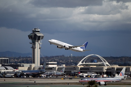 LOS ANGELES, CALIFORNIA, USA - MARCH 8, 2013 - Copa Airlines Boeing 737-8V3 takes off from Los Angeles Airport on  March 8, 2013. The plane seats 126 passengers with a range of 10,200 km Editorial