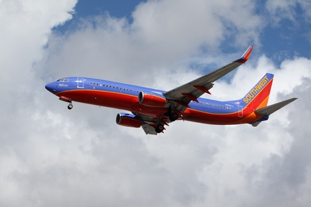 LOS ANGELES, CALIFORNIA, USA - MARCH 8, 2013 - Southwest Airlines Warrior One 737-800 lands at Los Angeles Airport on  March 8, 2013. The plane seats 126 passengers with a range of 10,200 km