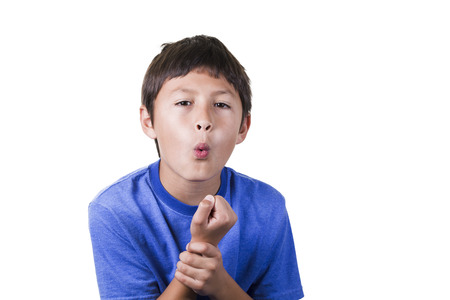 Young boy with sprained hurt wrist  Stock Photo