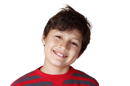 Young smiling boy opn white isolated background