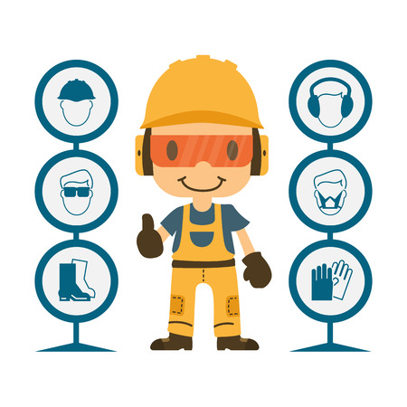 accidente trabajo: Construcci�n del trabajador del reparador pulgar hacia arriba, primero la seguridad, la salud y los signos de advertencia de seguridad, ilustrador vectorial