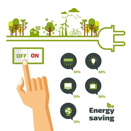eficiencia: Concepto de los ahorros, apagar, concepto de energía, idea diseño infográfico abstracto, ilustración vectorial