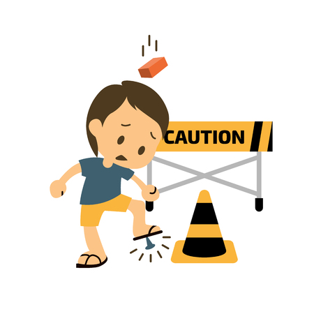 ingenieria elÉctrica: Seguridad y carácter accidente. Trauma y ladrillo en la cabeza, hiriendo a un pie. Ilustración vectorial