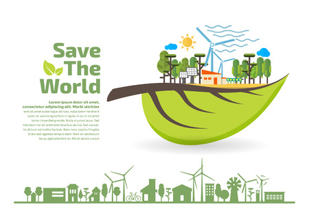 Eco Friendly, green energy concept, save the world vector illustration, flat design  イラスト・ベクター素材
