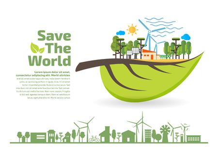 Eco Friendly, green energy concept, save the world vector illustration, flat design Illustration