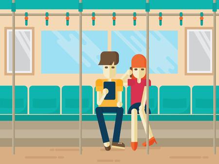 hablando por telefono: Las personas en viaje de metro que mira la tablilla y hablando por teléfono. empleado de oficina mujer joven, bonita y adolescente. estilo plano
