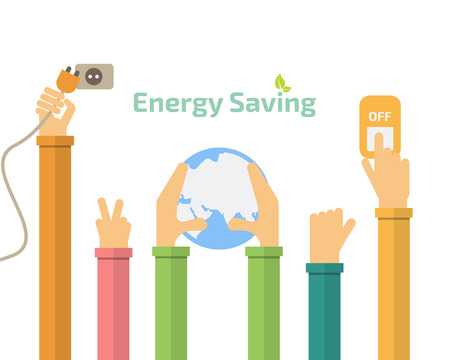 switch off: Savings concept, switch off, energy concept, idea abstract infographic layout Illustration