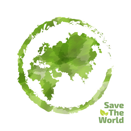 world earth day: Vector watercolor painted Illustration of environmentally friendly World map. Think Green. Ecology Concept. Globe watercolor vector
