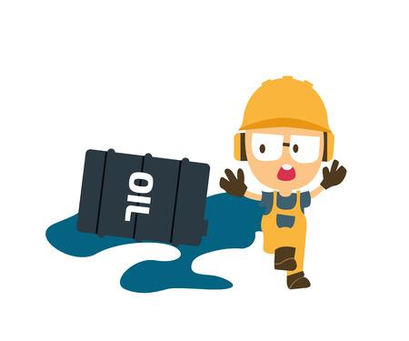 señales de seguridad: derramado aceite con personaje de dibujos animados, primero la seguridad, la salud y el concepto de seguridad. Vectores