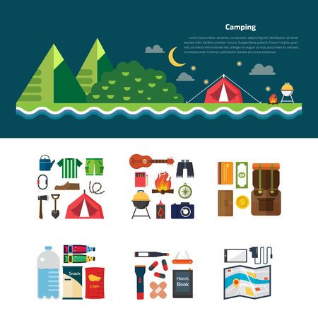 camping: Camping Landscape infographic  and Set of camping equipment symbols and icons Illustration