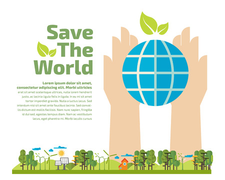 Hands holding ecology. Green concept. Safe idea. energy saving vector illustration