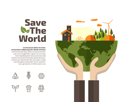 hands holding earth: Hands holding Earth with ecology symbols, Ecology concept.