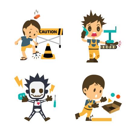 첫째, 건설 노동자 세트 사고 작업, 안전, 건강 및 안전, 벡터 일러스트